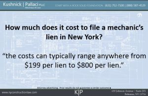 How much does it cost to file a mechanic's lien in New York?