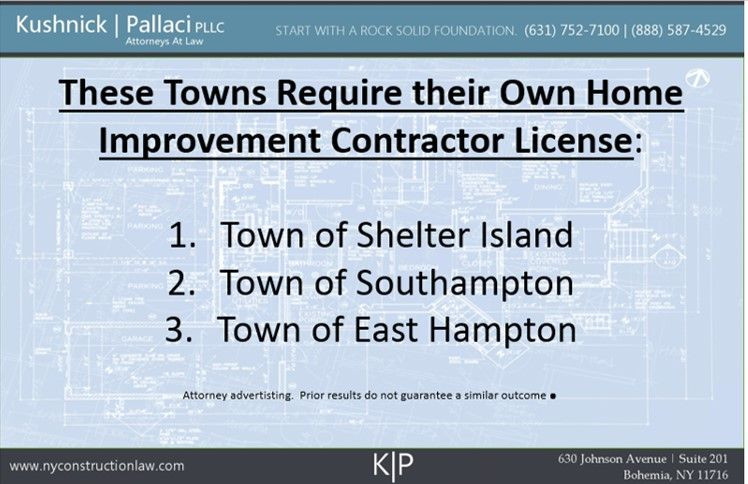 Some Suffolk County Towns Have Separate Home Improvement License